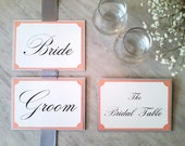Set of Sweetheart Chair Signs and Tent Table Sign(s) for Wedding Reception in Custom Colors, Fonts - The Bistro Collection