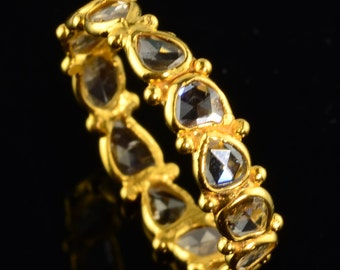 18k Solid Yellow Gold Rose Cut Champagne Diamond Eternity Ring Size 6.5