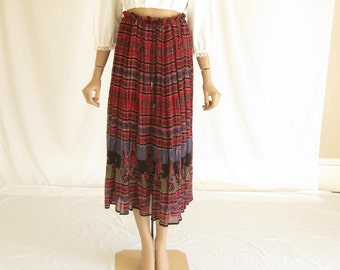 Vintage 80s India Gauze Cotton Boho Skirt