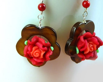 Handmade Mother of Pearl and Polymer Clay Rose Flower Earrings - Brown - Red - Sterling Silver - Spring -Summer - short