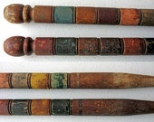 Pair of Antique 1920 Vtg Carved Wooden Croquet Goal, End Posts in Old Paint Colors, Folk Art, Wall Sculpture, Creative Use