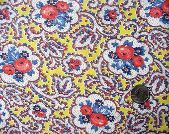 Vintage 1940's Feed Sack Cotton Fabric, Red, Blue, Yellow,  Flowers inside a Flower Design