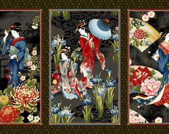 Geisha Charm Black Kona Bay Fabric Panel