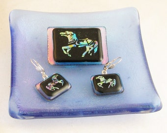 Carousel Jewelry - A Carousel Horse in many colors  - fused glass PENDANT & Earrings - dichroic glass jewelry - carousel horse (4093-4094)