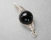 SALE Black River Stone and Herringbone Weave Silver Pendant item CP210