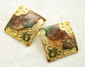 Filigree Swirled Enamel Earrings - Vintage 80s New Wave in Brown Gold and Green