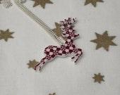 CIJ 20% off - Fair Isle Reindeer Necklace, Christmas Deer Illustration Necklace
