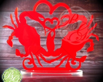 CLEARANCE SALE Crab Wedding Cake Topper, RED Crab Wedding Keepsake Topper, Chesapeake, Maryland Bride *Original Design*