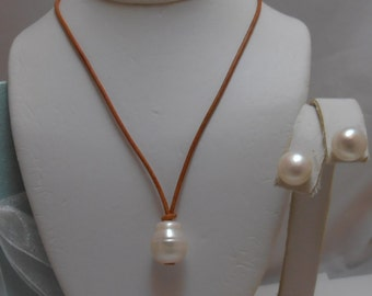 Large Genuine Pearl  Teardrop Necklace on leather and earrings set