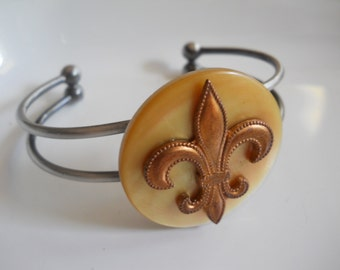 Cuff Bracelet with Antique Mother of Pearl Button and Copper Fleur de Lis Charm on Gunmetal Dark Gray Adjustable Bracelet French France