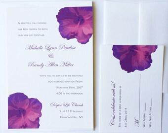 Purple Boho Tropical Hibiscus Flower Wedding Invitation, simple unique invites, elegant Floral luau wedding invitations, bohemian island