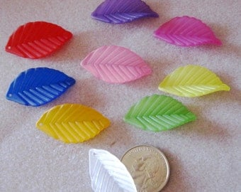 You Pick Color Solid Matte Frosted Lucite Acrylic Leaf Beads 443