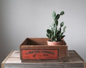 Vintage Wood Crate, LaMachia Cherries, Storage Crate, Rustic Wood Box, Organizer, Home Decor, Display Box, Home and Living, Planter