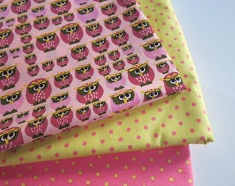 Owl Berry & Polka Dot hand printed cotton fabric - Fat Quarter Set
