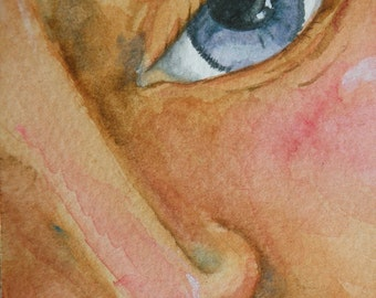 ACEO Art Card Watercolor of Womans Face Original Art Card Original Watercolor