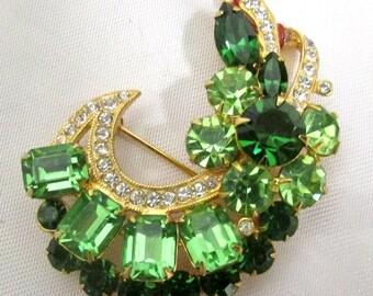 Vintage 1950's Brooch Signed Jewelry Eisenberg ICE Green Rhinestone Swarovski Crystal Pin
