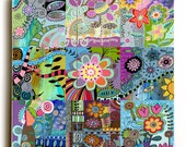 Funky Flowers Colorful Art Print on Planked Wood
