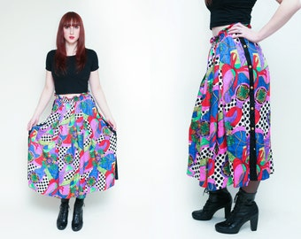Vintage 80's Diane Freis Pop Art SILK Skirt // Jacquard Polka Dot Rope Abstract Button Up BOLD Maxi Skirt