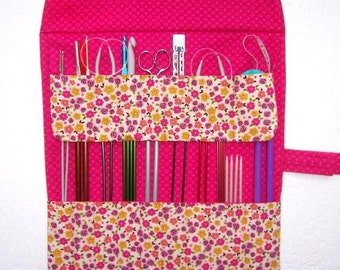 Pink Knitting Needle Roll Up Case, Yellow Floral Crochet Hook Storage Holder, Double Pointed Needle Supply Organizer, Straight Needle Case