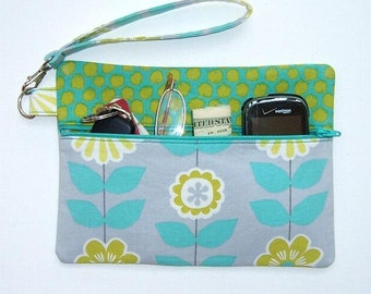Floral Fabric Front Zippered Wristlet, Grey, Turquoise, Gold and Teal Small Clutch, Fabric Wallet for Holding Phone, Makeup Camera and Money