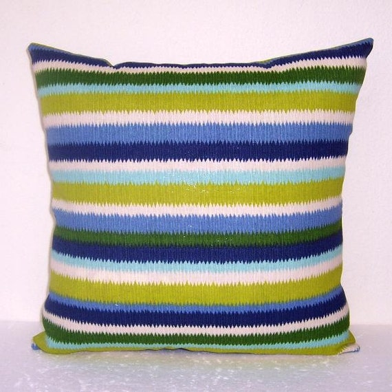 Pool Blue Throw Pillows : Outdoor 16 x 16 Striped Pillow Cover Pool Accent Pillow Blue