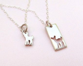 Fawn Mother Daughter Jewelry Set -  Silver Necklaces - Mother's Day - Deer Necklace - Cute Necklace - Ready to Ship