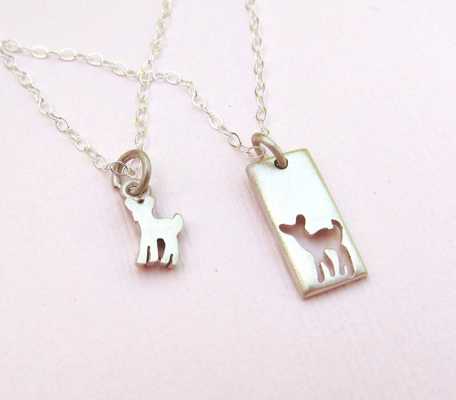 Fawn mother daughter jewelry set silver necklaces for Jewelry for mom for christmas