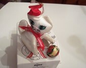 Rare Fancy Feast Kitty Cat ornament in box tree ornament 1992 no longer in production White kitty cat