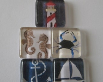 Nautical Themed Square Glass Magnets Set of 5