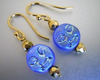 Man in the Moon Earrings, Blue Moon Earrings, Moon Earrings, Astrology Jewelry, Full Moon, Czech Glass jewelry