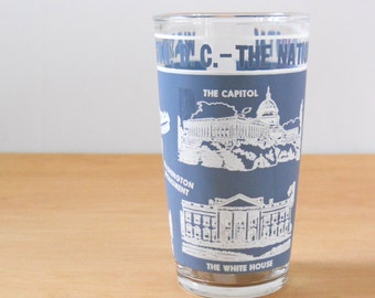 Vintage Souvenir Glass • Washington D.C. Glass • Hazel Atlas National Capital Souvenir