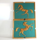 1950s Wood & Wool Horse Wall Art, Retro Turquoise, Country Living Farmhouse Decor