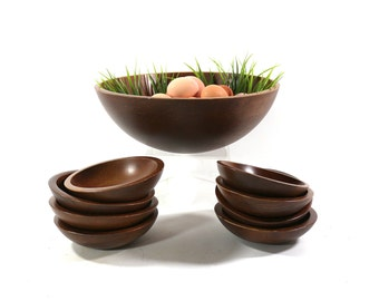1950s Wood Bowl Set, Serving Bowl & Eight Individual Bowls, Hardwood Woodcroftery Made in USA