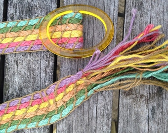 Vintage Woven Rainbow Jute Belt with Lucite Buckle