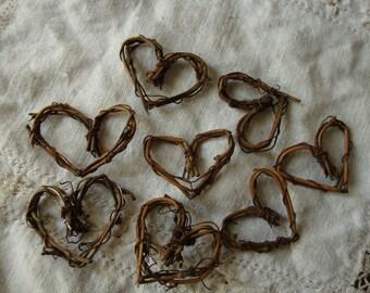 "Grapevine hearts twigs embellishments Rustic wedding mini twig 1"" hearts wedding craft supplies rustic natural home decor branches sticks"