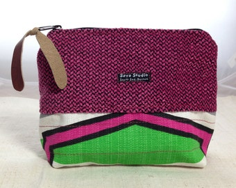 Green and Magenta Zip Pouch