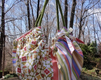 Large Floral Gathered Tote Shades of Pink, Green, White and Periwinkle