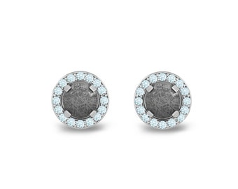 Diamond Earrings with Meteorite Centers on White Gold, Custom Personalized Jewelry