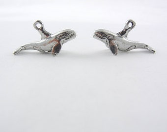 Pair of Dimensional Pewter Orca Whale Charms
