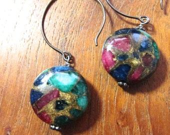 LAPIS RUBY JADE Agate Earrings