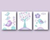 Aqua lavender purple nursery art Kids wall art baby nursery decor tree bird nursery wall art baby girls room Set of 3 Prints