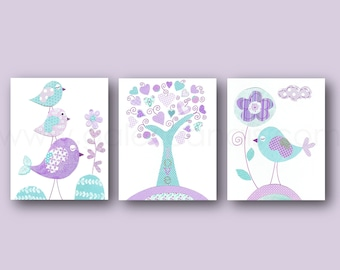 Aqua lavender purple nursery art Kids wall art baby nursery decor tree bird nurserytbaby girls room Decor Set of 3 Prints