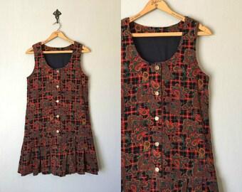 Vintage JO Dress • 1960s Clothing • Sleeveless ShiftDrop Waist Pleated Skirt 60s 70s Paisley Plaid Print Button• Womens Size Small Medium