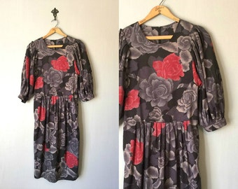 Vintage FLORAL Dress • 1980s Clothing • Oversized Rose Print Black Red Gray Midi Length 80s Bell Sleeves With Pockets • Womens Small Medium