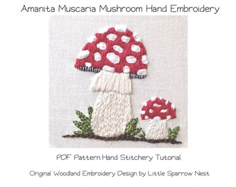 Woodland Embroidery Pattern Amanita Muscaria Mushroom PDF Babies Nursery Room Art Decor - Hand Embroidery Download by Little Sparrow Nest