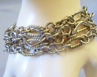 Vintage 80s Chain Cluster Gold and Silver Plate Bracelet Magnetic Clasp 4 Strands
