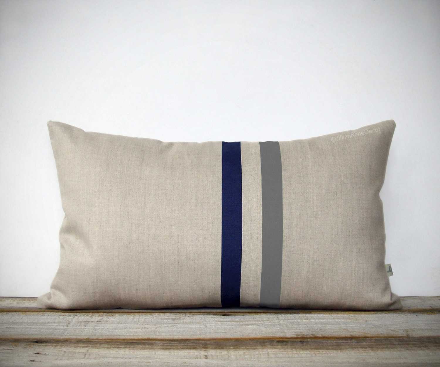 Modern Navy Pillows : Gray and Navy Striped Pillow 12x20 Modern Home Decor by