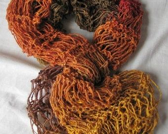 Saffron Sahara Hand Knitted Silk Wool Mix Drop Stitch Wraparound Shawl