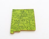 New Mexico Brooch - Lapel Pin / Upcycled 40s Straus Wood Puzzle Piece / Unique Wearable History Gift Idea / Timeless Gift Under 25