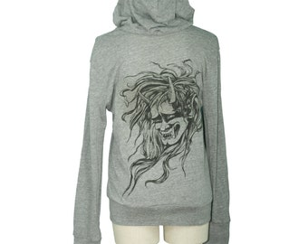 Eco Grey Japanese Oni, Demon Head, Monster Screen Printed Unisex Long Sleeved Hoodie - Gifts for Him or Her